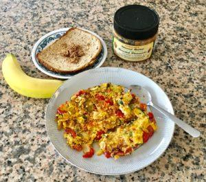 Veggie-Omelet-Almond-Butter Toast